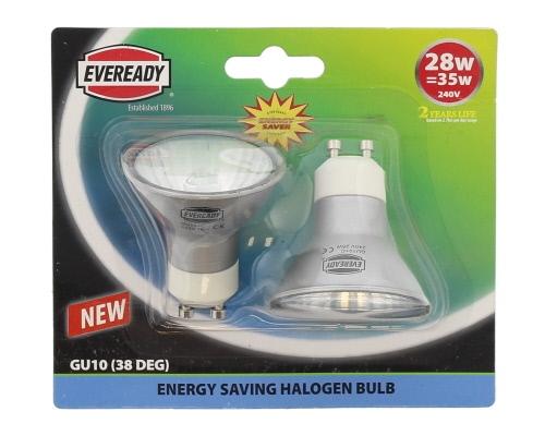 Description of S4859 HALOGEN GU10 LAMP  28W (= 35W) PACK OF 2