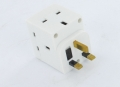 Description of 3 Way Fused Adaptor in white.