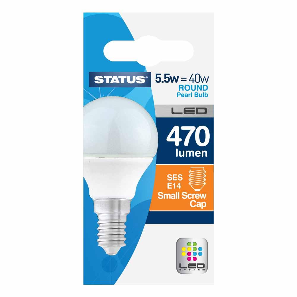 Description of LED 5.5W ROUND PEARL LIGHT BULB SES/ E14 (=40W)