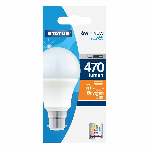 Description of LED 6W BC / B22 GLS PEARL LIGHT BULB (=40W)